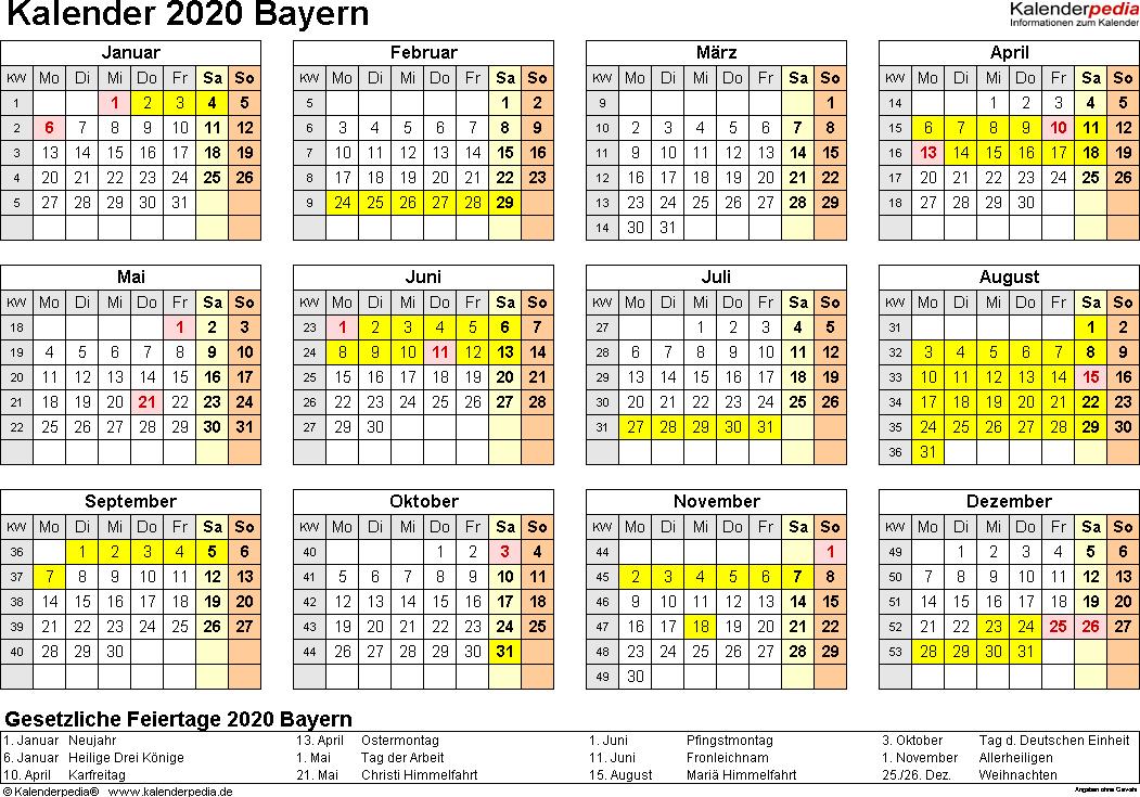 Vorlage 4: Kalender 2020 für Bayern als Excel-Vorlagen (Querformat, 1 Seite, Jahresübersicht)