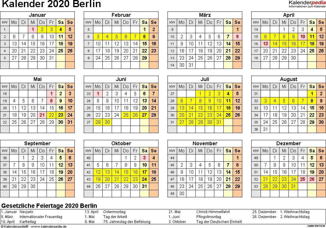 Vorlage 4: Kalender 2020 für Berlin als Excel-Vorlagen (Querformat, 1 Seite, Jahresübersicht)