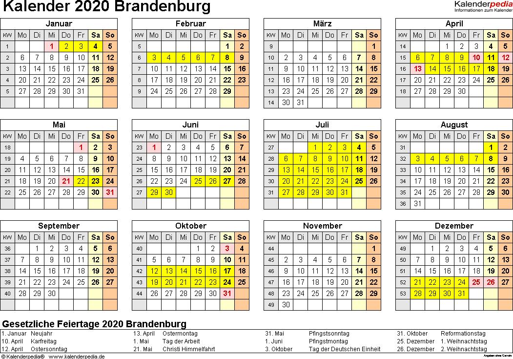 Vorlage 4: Kalender 2020 für Brandenburg als Excel-Vorlagen (Querformat, 1 Seite, Jahresübersicht)
