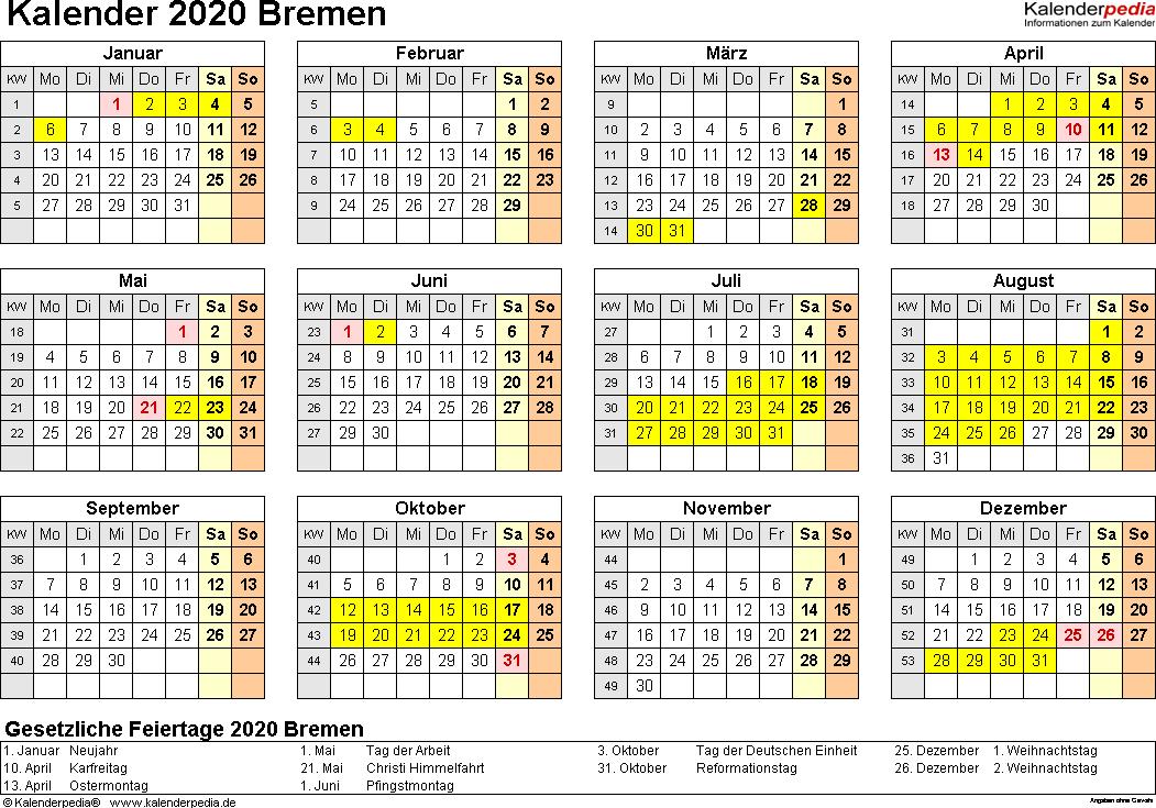Vorlage 4: Kalender 2020 für Bremen als Word-Vorlagen (Querformat, 1 Seite, Jahresübersicht)