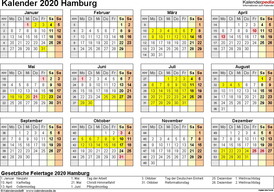 Vorlage 4: Kalender 2020 für Hamburg als PDF-Vorlagen (Querformat, 1 Seite, Jahresübersicht)