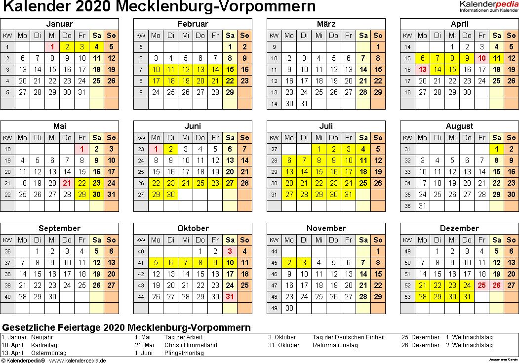 Vorlage 4: Kalender 2020 für Mecklenburg-Vorpommern als Word-Vorlagen (Querformat, 1 Seite, Jahresübersicht)