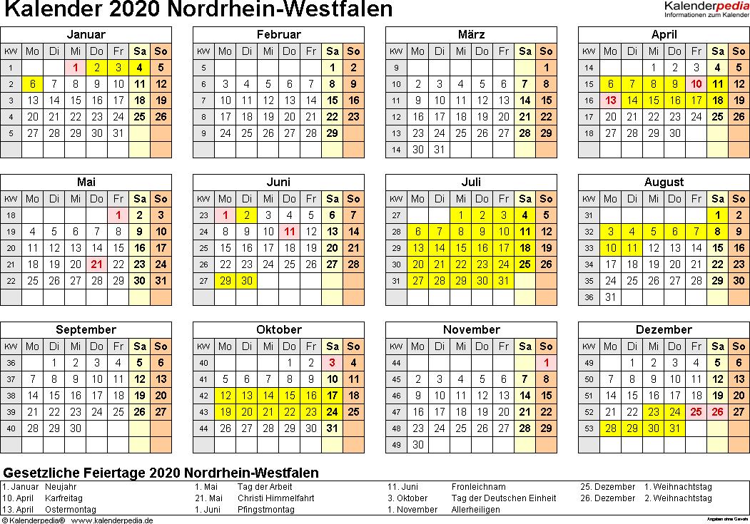 Vorlage 4: Kalender 2020 für Nordrhein-Westfalen (NRW) als Excel-Vorlagen (Querformat, 1 Seite, Jahresübersicht)