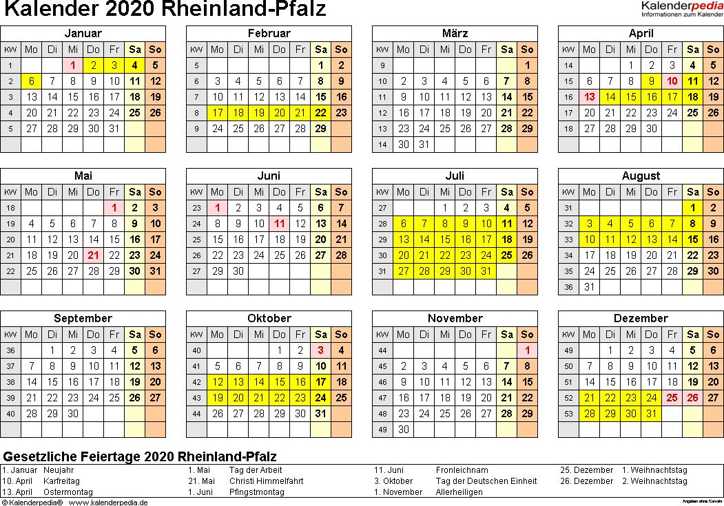 Vorlage 4: Kalender 2020 für Rheinland-Pfalz als PDF-Vorlagen (Querformat, 1 Seite, Jahresübersicht)