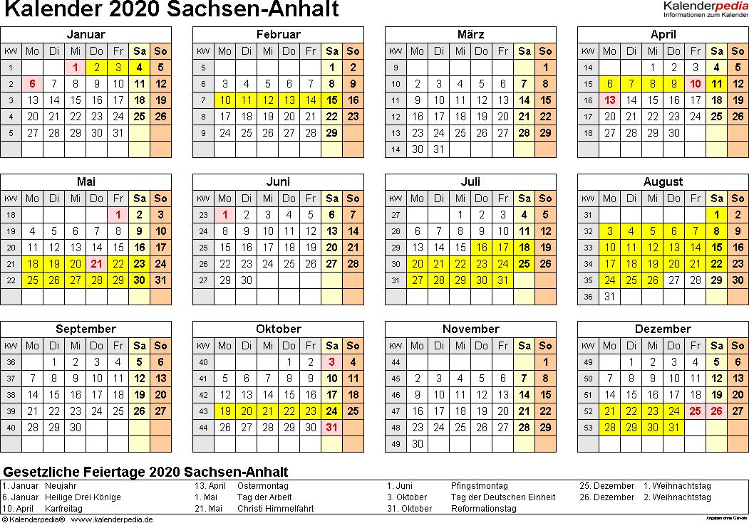 Vorlage 4: Kalender 2020 für Sachsen-Anhalt als Excel-Vorlagen (Querformat, 1 Seite, Jahresübersicht)