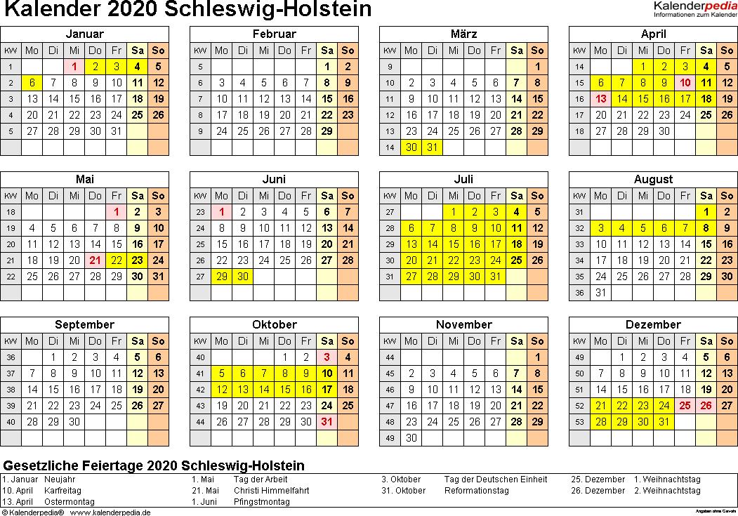 Vorlage 4: Kalender 2020 für Schleswig-Holstein als PDF-Vorlagen (Querformat, 1 Seite, Jahresübersicht)