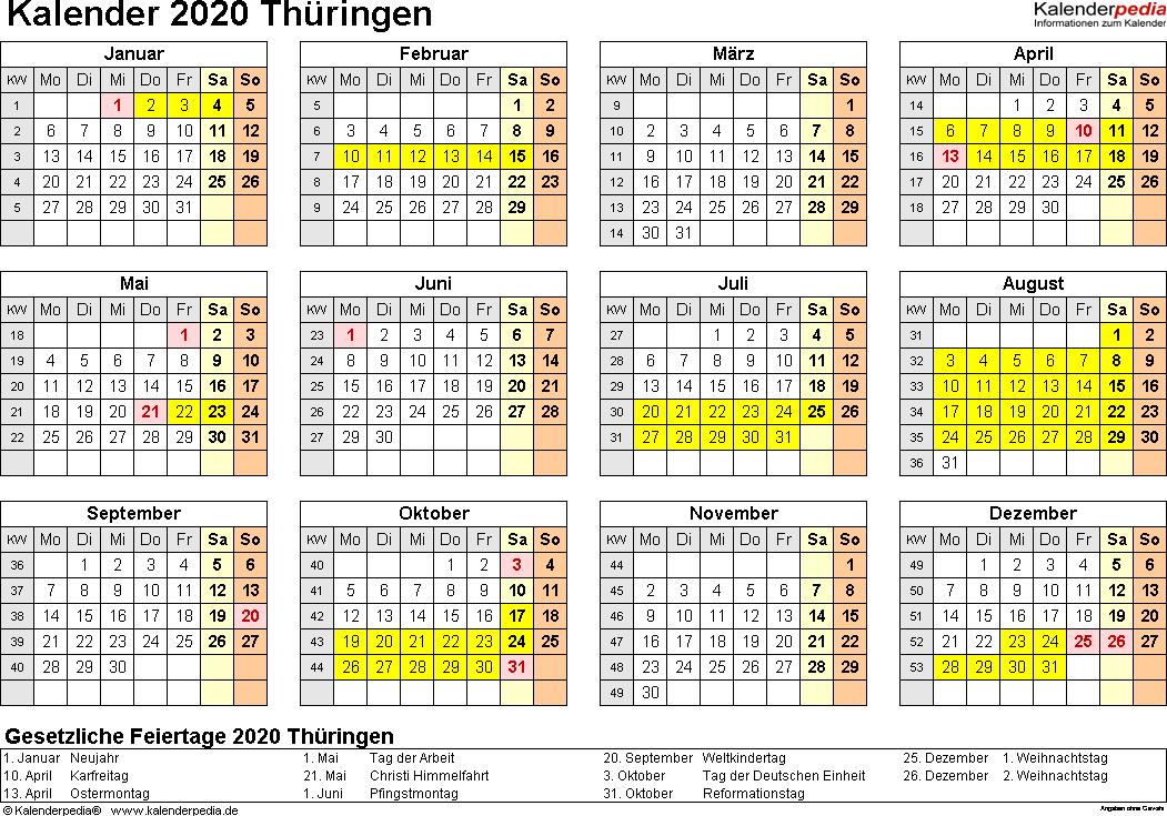 Vorlage 4: Kalender 2020 für Thüringen als PDF-Vorlagen (Querformat, 1 Seite, Jahresübersicht)