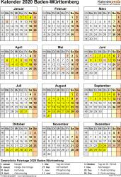 Vorlage 8: Kalender Baden-Württemberg 2020 als PDF-Vorlage (Hochformat)