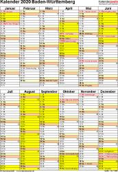 Vorlage 5: Kalender Baden-Württemberg 2020 als PDF-Vorlage (Hochformat)