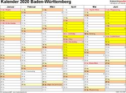 Vorlage 2: Kalender 2020 für Baden-Württemberg als PDF-Vorlage (Querformat, 2 Seiten)