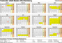 Vorlage 4: Kalender 2020 für Baden-Württemberg als PDF-Vorlage (Querformat, 1 Seite, Jahresübersicht)