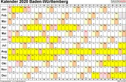 Vorlage 3: Kalender Baden-Württemberg 2020 im Querformat, Tage nebeneinander