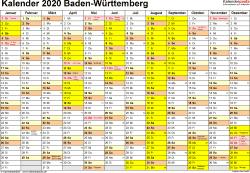 Vorlage 1: Kalender 2020 für Baden-Württemberg als PDF-Vorlage (Querformat, 1 Seite)