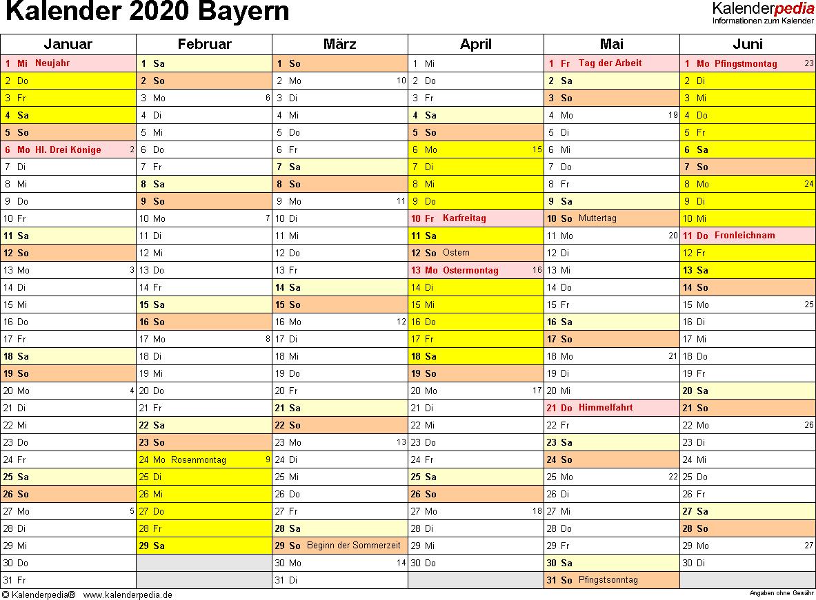 Vorlage 2: Kalender 2020 für Bayern als Excel-Vorlagen (Querformat, 2 Seiten)