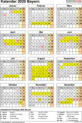 Vorlage 8: Kalender Bayern 2020 als Excel-Vorlage (Hochformat)