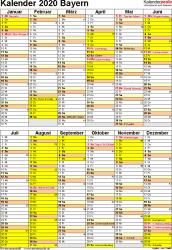 Vorlage 6: Kalender Bayern 2020 als Excel-Vorlage (Hochformat)