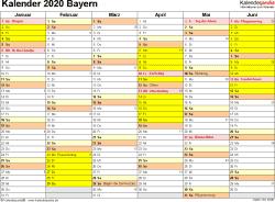 Vorlage 2: Kalender 2020 für Bayern als Word-Vorlage (Querformat, 2 Seiten)