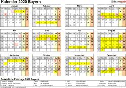 Vorlage 4: Kalender 2020 für Bayern als Word-Vorlage (Querformat, 1 Seite, Jahresübersicht)