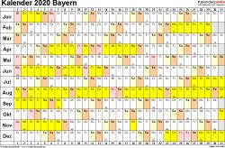 Vorlage 3: Kalender Bayern 2020 im Querformat, Tage nebeneinander