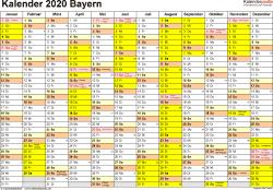 Vorlage 1: Kalender 2020 für Bayern als Excel-Vorlagen (Querformat, 1 Seite)