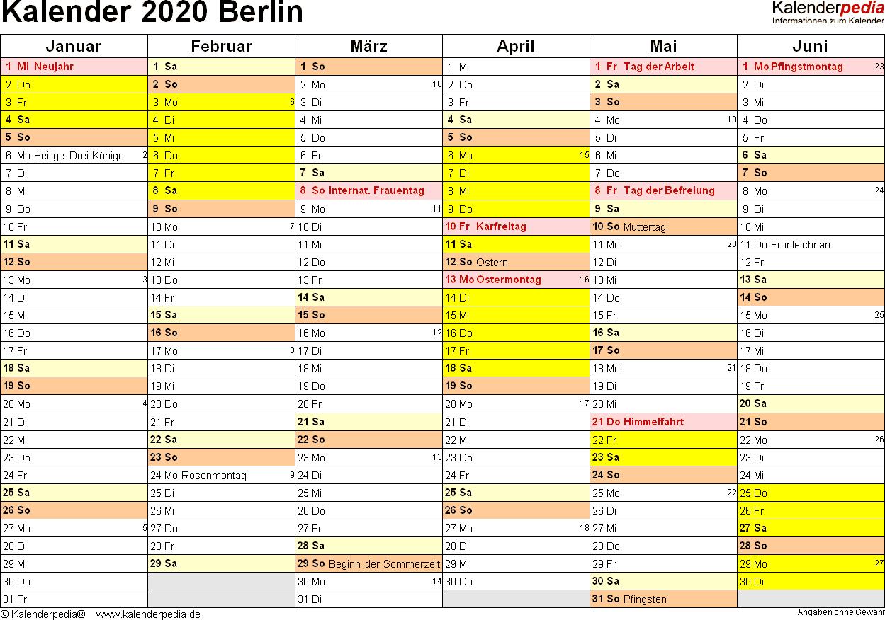 Vorlage 2: Kalender 2020 für Berlin als Excel-Vorlagen (Querformat, 2 Seiten)