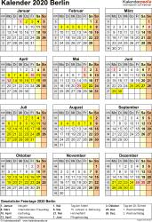 Vorlage 8: Kalender Berlin 2020 als Excel-Vorlage (Hochformat)
