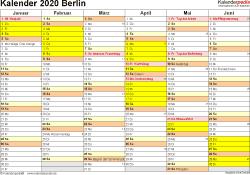 Vorlage 2: Kalender 2020 für Berlin als Word-Vorlage (Querformat, 2 Seiten)