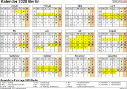Vorlage 4: Kalender 2020 für Berlin als Word-Vorlage (Querformat, 1 Seite, Jahresübersicht)