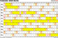 Vorlage 3: Kalender Berlin 2020 im Querformat, Tage nebeneinander