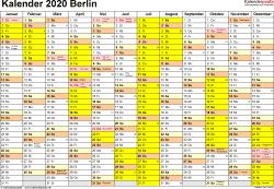 Vorlage 1: Kalender 2020 für Berlin als Excel-Vorlagen (Querformat, 1 Seite)