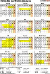 Vorlage 8: Kalender Brandenburg 2020 als Excel-Vorlage (Hochformat)