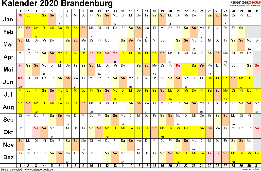 Vorlage 2: Kalender Brandenburg 2020 im Querformat, Tage nebeneinander