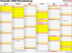 Vorlage 2: Kalender 2020 für Brandenburg als Word-Vorlage (Querformat, 2 Seiten)