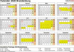 Vorlage 4: Kalender 2020 für Brandenburg als PDF-Vorlage (Querformat, 1 Seite, Jahresübersicht)