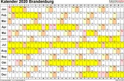 Vorlage 3: Kalender Brandenburg 2020 im Querformat, Tage nebeneinander