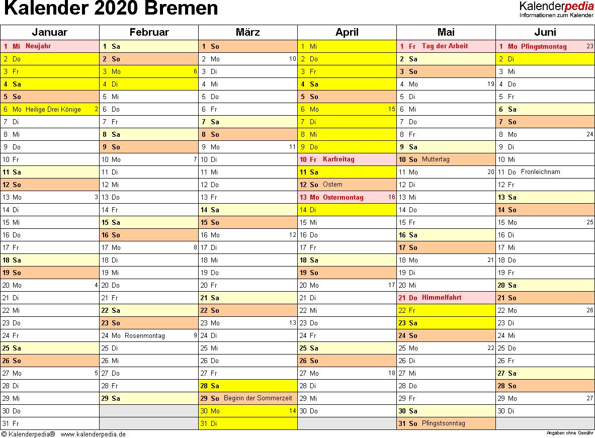 Vorlage 2: Kalender 2020 für Bremen als Word-Vorlagen (Querformat, 2 Seiten)