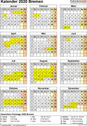 Vorlage 8: Kalender Bremen 2020 als Excel-Vorlage (Hochformat)