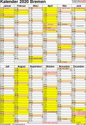 Vorlage 5: Kalender Bremen 2020 als Excel-Vorlage (Hochformat)