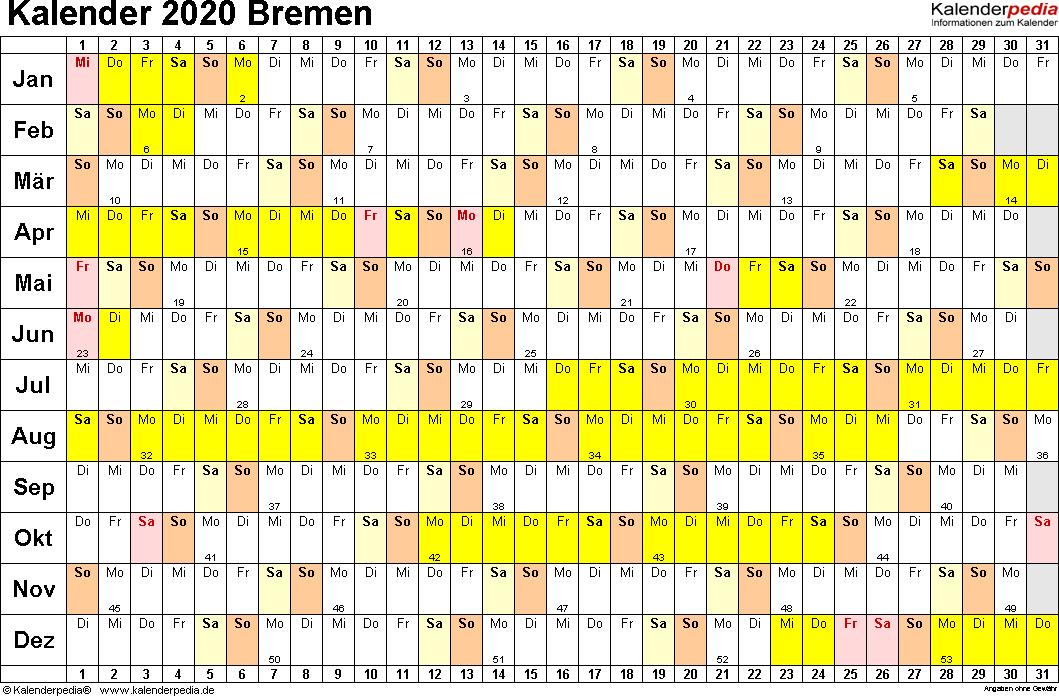 Vorlage 3: Kalender Bremen 2020 im Querformat, Tage nebeneinander