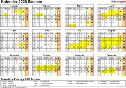 Vorlage 4: Kalender 2020 für Bremen als PDF-Vorlage (Querformat, 1 Seite, Jahresübersicht)