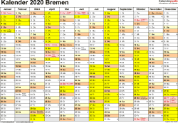 Vorlage 1: Kalender 2020 für Bremen als PDF-Vorlage (Querformat, 1 Seite)