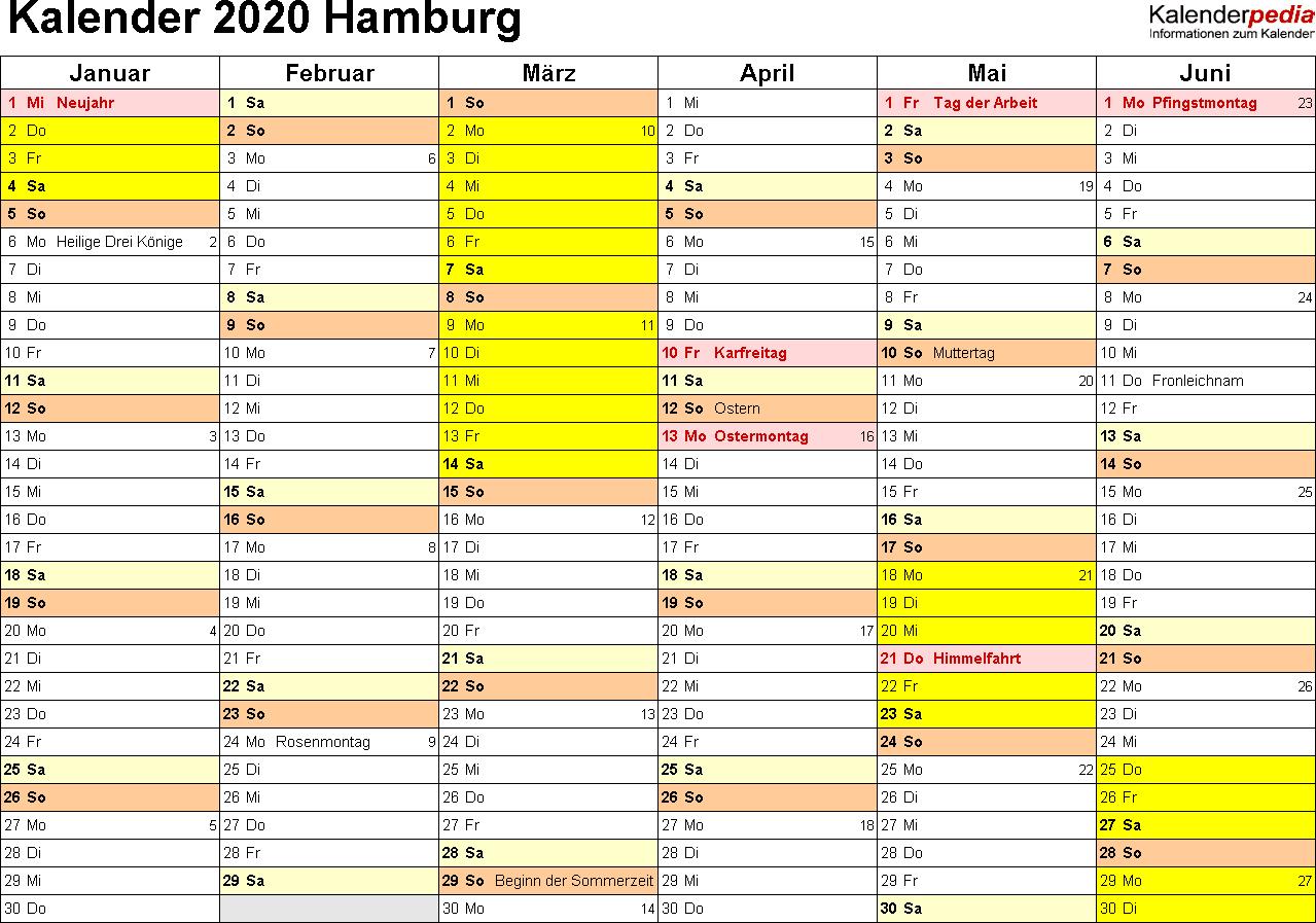 Vorlage 2: Kalender 2020 für Hamburg als PDF-Vorlagen (Querformat, 2 Seiten)