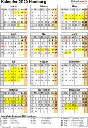Vorlage 8: Kalender Hamburg 2020 als Excel-Vorlage (Hochformat)
