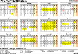 Vorlage 4: Kalender 2020 für Hamburg als Excel-Vorlage (Querformat, 1 Seite, Jahresübersicht)