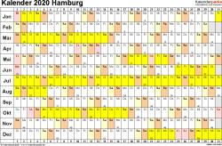 Vorlage 3: Kalender Hamburg 2020 im Querformat, Tage nebeneinander