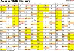 Vorlage 1: Kalender 2020 für Hamburg als PDF-Vorlagen (Querformat, 1 Seite)