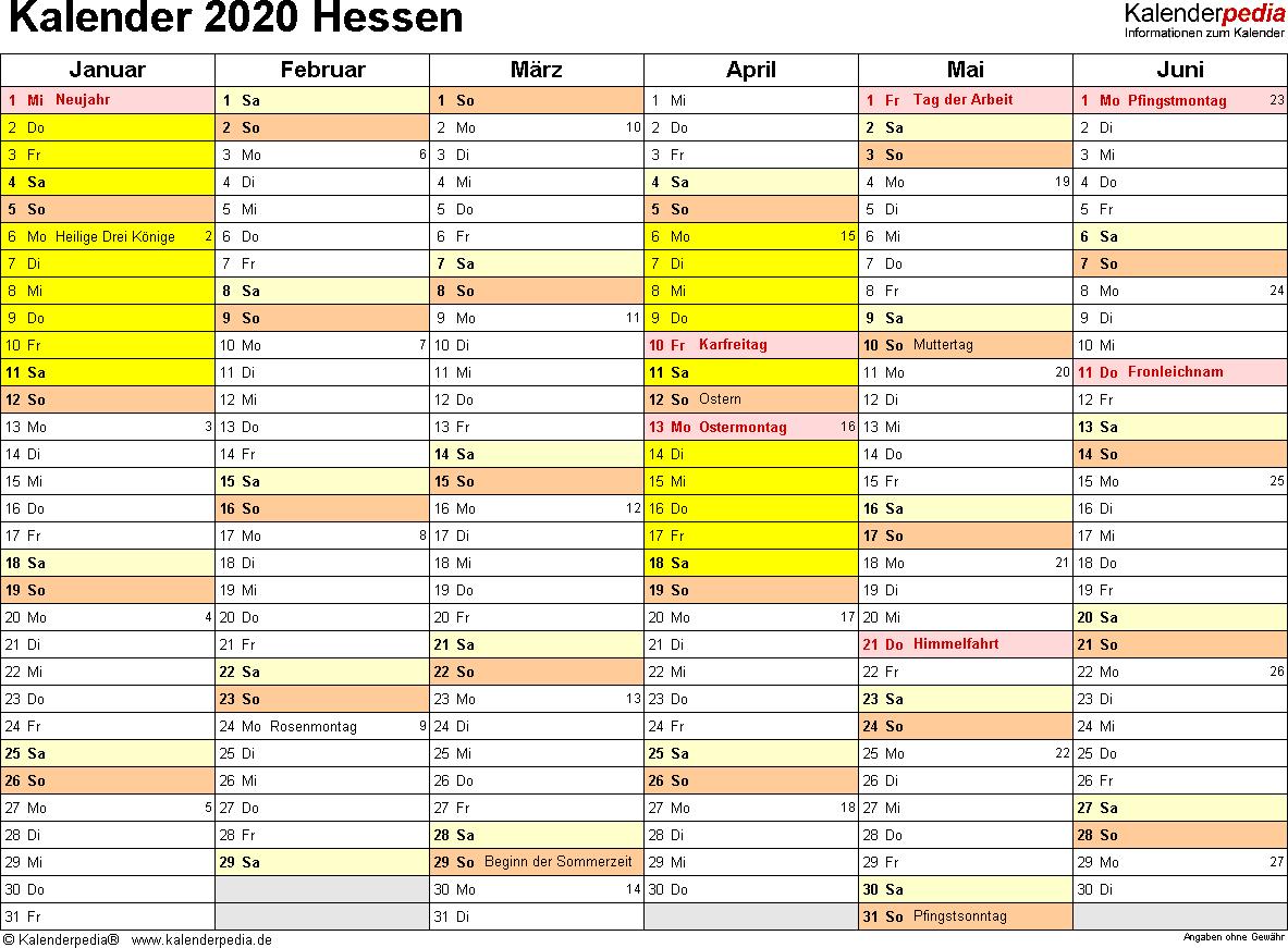 Vorlage 3: Kalender 2020 für Hessen als Excel-Vorlagen (Querformat, 2 Seiten)