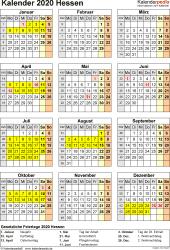 Vorlage 4: Kalender Hessen 2020 als Excel-Vorlage (Hochformat)