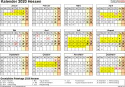 Vorlage 4: Kalender 2020 für Hessen als PDF-Vorlage (Querformat, 1 Seite, Jahresübersicht)