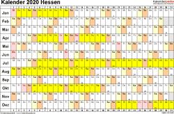 Vorlage 3: Kalender Hessen 2020 im Querformat, Tage nebeneinander